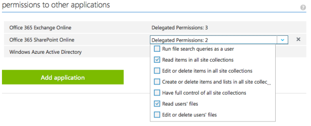 Azure Manage Portal - Application Permissions
