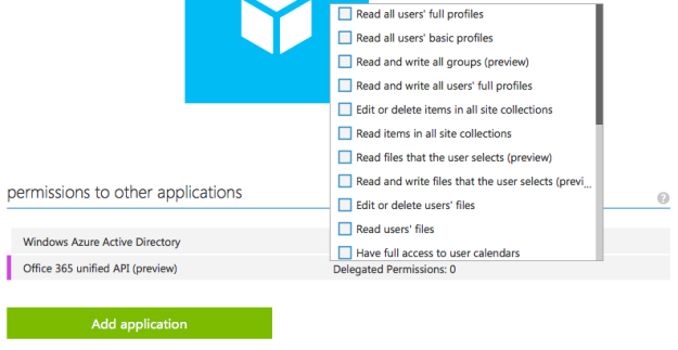 Office365 Unified API - Registration in Azure