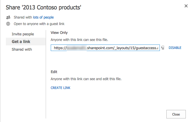Create time-limited share link for a SharePoint document