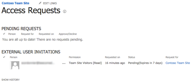 External Sharing / Pending Requests