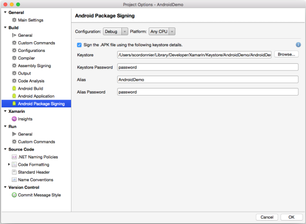 Xamarin - Android Package Signing