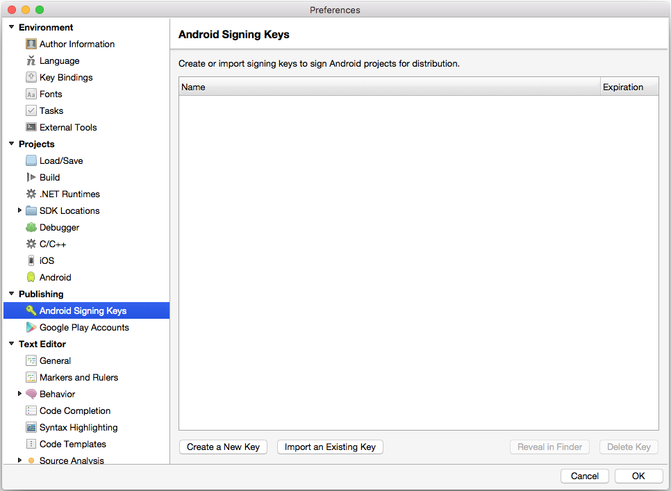 Signing your Xamarin Android application package during the