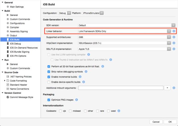 Xamarin Studio - iOS Build Settings
