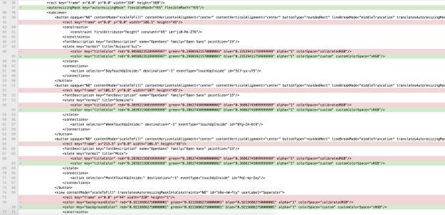 Xcode8 - Différences dans le fichier XIB