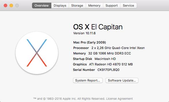 OS X El Capitan sur Mac Pro 2009