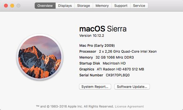 macOS Sierra sur Mac Pro 2009
